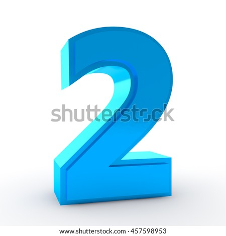 Number 2 blue color collection on white background illustration 3D rendering