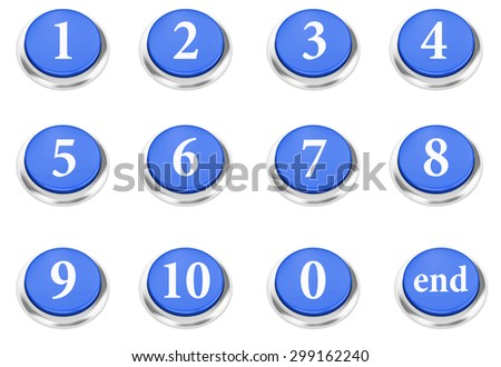 number button Isolated On White 3d render