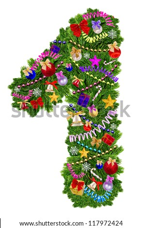 Number 1. Christmas tree decoration on a white background - stock photo