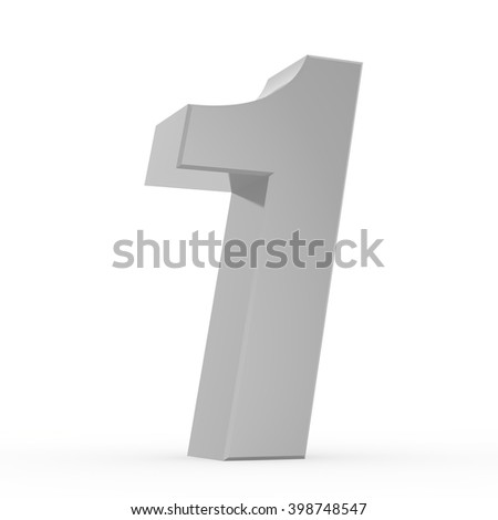 Number 1 chrome gray collection on white background illustration 3D rendering
