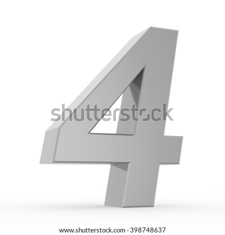 Number 4 chrome gray collection on white background illustration 3D rendering