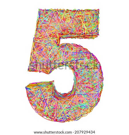 Number 5 composed of colorful striplines isolated on white. High resolution 3D image