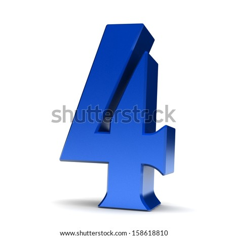 Number 4. 3d render shiny blue number collection - stock photo