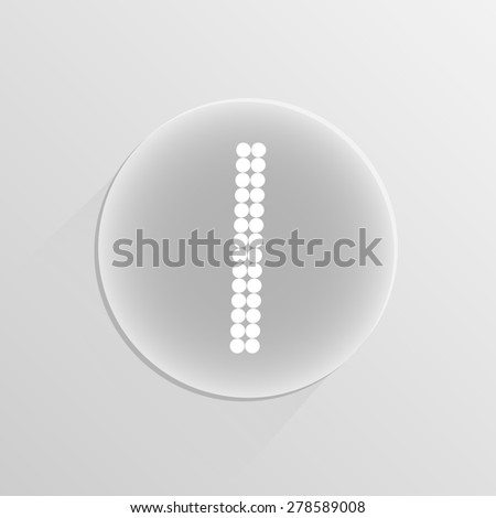 Number digital one on a white button with shadow  - stock photo