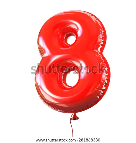 number eight - 8 balloon font - stock photo