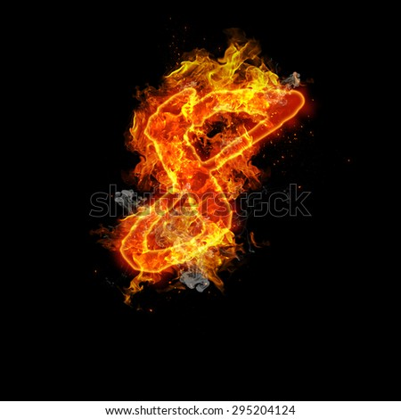 Number eight fire on a black background.