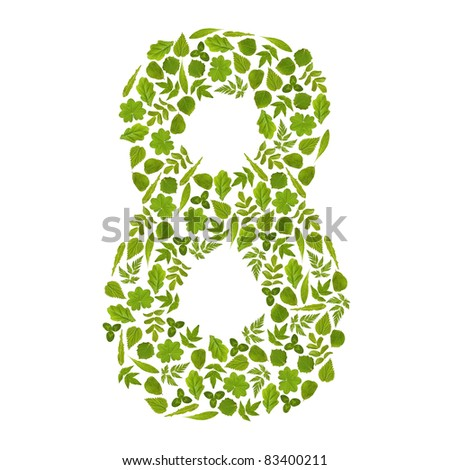 Number EIGHT from green leafs - stock photo