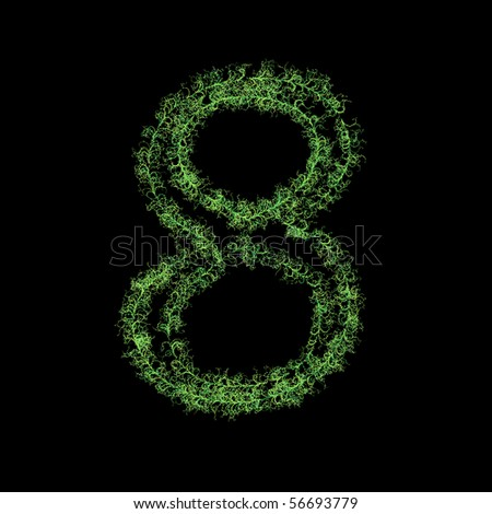Number eight from plants - stock photo