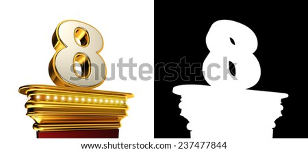 Number Eight on a golden platform with brilliant lights over white background with alpha map - stock photo
