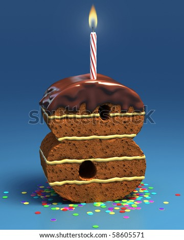 number eight shaped birthday cake with candle - stock photo