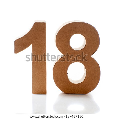 Number Eighteen on a white background - stock photo