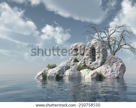 number eighty rock at water - 3d illustration - stock photo