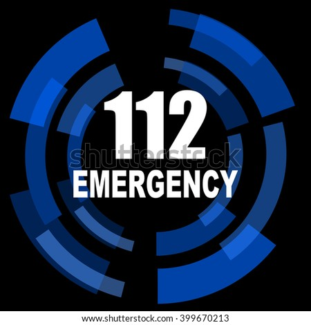 number emergency 112 black background simple web icon