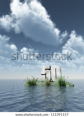 number fifty monument at the ocean - 3d illustration