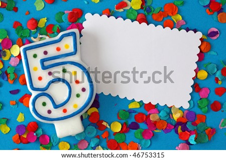 Number five birthday candle on blue background - stock photo
