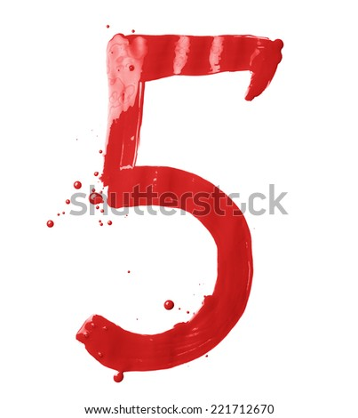 Number five digit character hand drawn with the oil paint brush strokes isolated over the white background