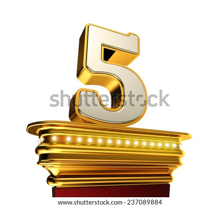 Number Five on a golden platform with brilliant lights over white background - stock photo