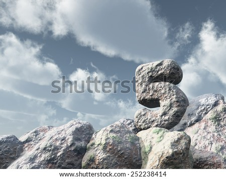 number five rock under cloudy blue sky - 3d illustration - stock photo