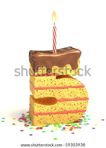 number five shaped chocolate birthday cake with lit candle and confetti - stock photo