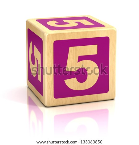 number five 5 wooden blocks font - stock photo