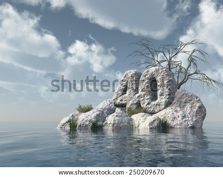number forty rock at water - 3d illustration - stock photo
