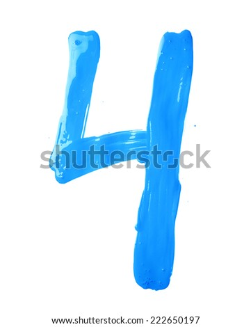 Number four digit character hand drawn with the oil paint brush strokes isolated over the white background