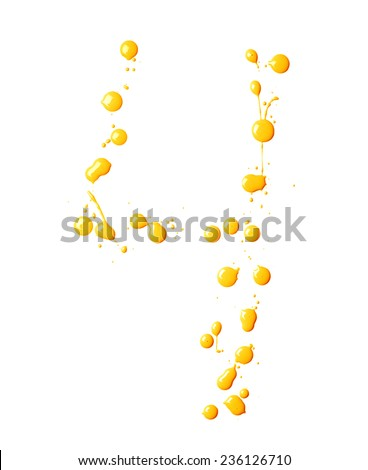 Number four digit character made with multiple oil paint spill drops isolated over the white background