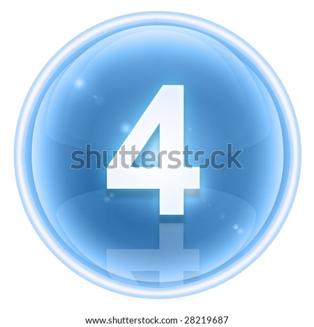 Number four icon ice, isolated on white background