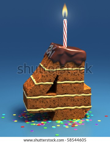 number four shaped birthday cake with candle - stock photo