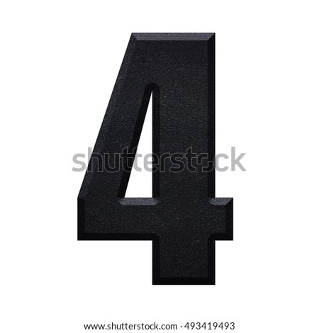 Number 4 four with Black iron pan texture english alphabet font letter, isolated on white background