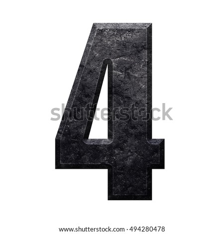 Number 4 four with surface of stone texture english alphabet letter, isolated on white background