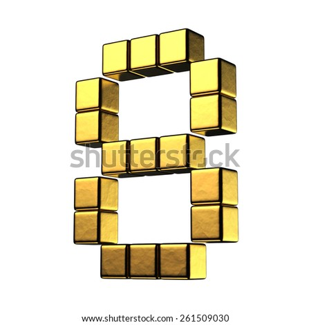 Number 8 from big cube gold perspective alphabet. There is a clipping path - stock photo