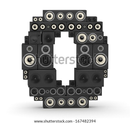 Number 0 from black woods hi-fi speakers sound systems - stock photo