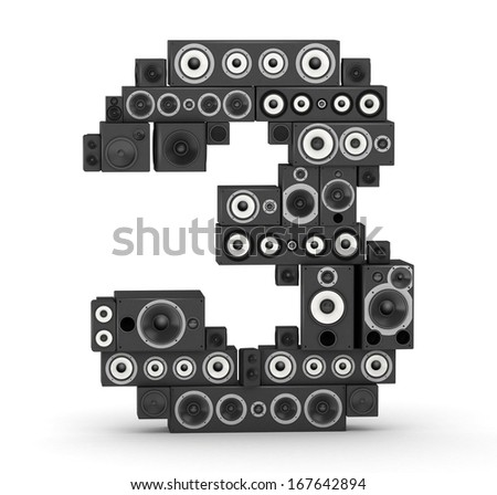 Number 3 from black woods hi-fi speakers sound systems - stock photo