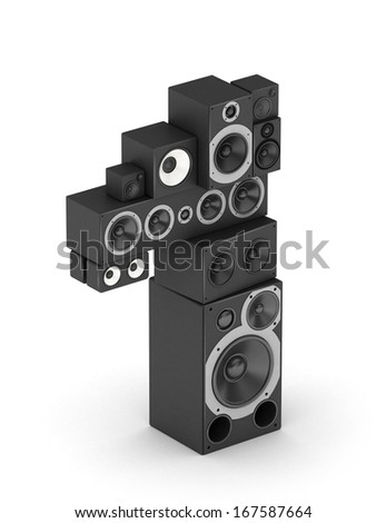 Number 1 from black woods hi-fi speakers sound systems in isometry - stock photo