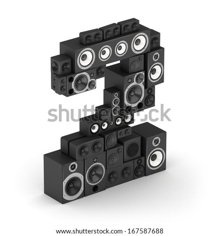Number 2 from black woods hi-fi speakers sound systems in isometry - stock photo