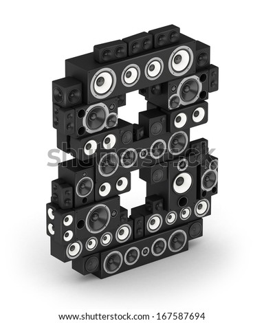 Number 8 from black woods hi-fi speakers sound systems in isometry - stock photo