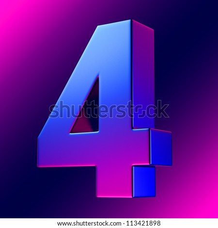 Number 4 from blue-magenta solid alphabet. There is a clipping path - stock photo