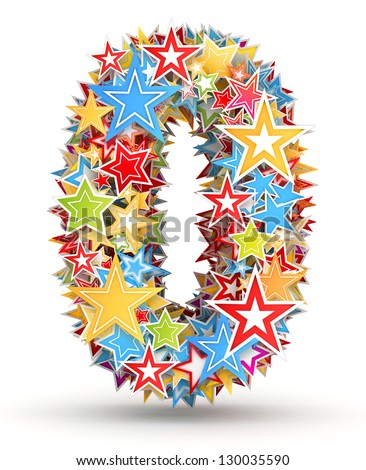 Number 0, from bright colored holiday stars staked