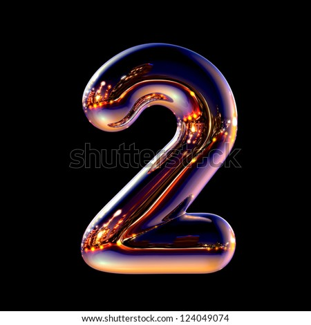 Number 2 from chrome night city alphabet isolated on black - stock photo