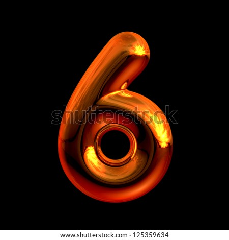 Number 6 from chrome orange sunset alphabet. There is a clipping path - stock photo