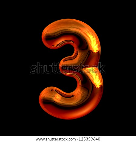 Number 3 from chrome orange sunset alphabet. There is a clipping path - stock photo