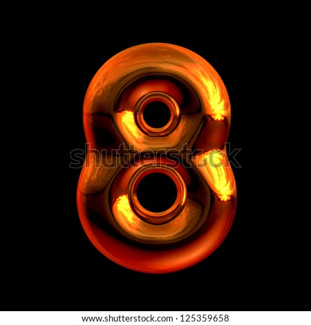 Number 8 from chrome orange sunset alphabet. There is a clipping path - stock photo