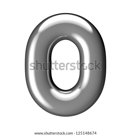 Number 0 from chrome round solid alphabet. There is a clipping path