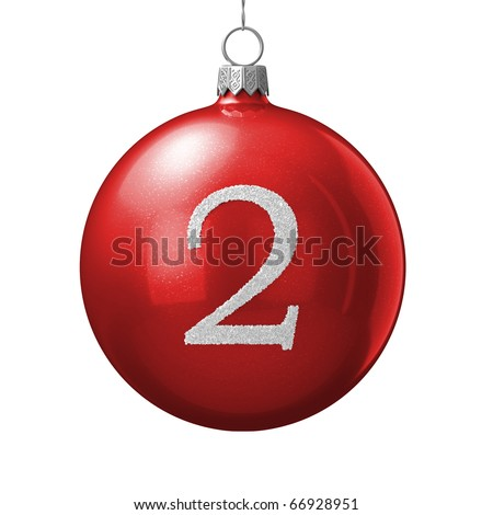 Number 2 from cristmas ball alphabet. There is a clipping path - stock photo