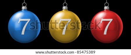 Number 7 from cristmas ball alphabet. There is a clipping path - stock photo