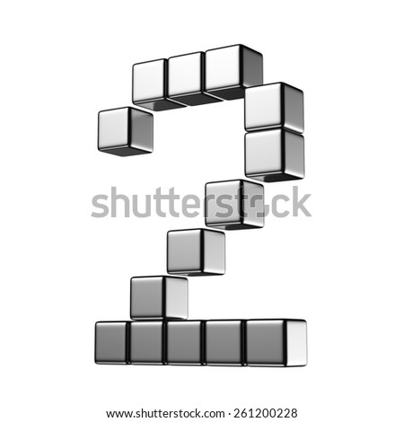 Number 2 from digital cube middle perspective alphabet. There is a clipping path - stock photo