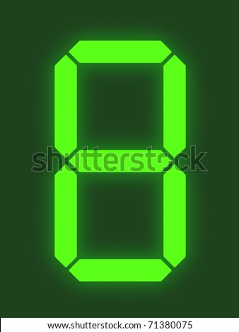 Number 8 from digital display series - stock photo