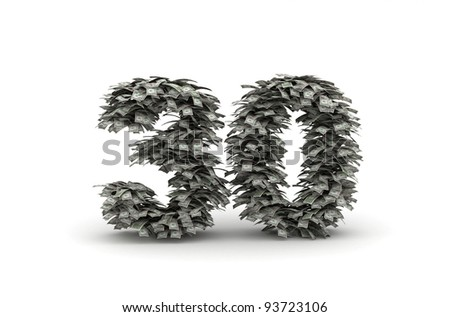 Number 30 from dollars bills like leafs - stock photo