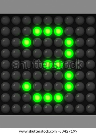 Number 3 from green creeping line alphabet - stock photo
